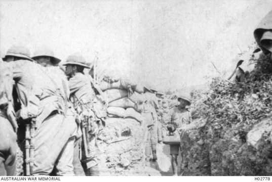 Normal 9th light horse members of the 9th australian light horse regiment standing to in the trenches at russells top gallipoli turkey.