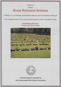 Profile pic thanbyusayat war cemetery   certificate of honour gunner  br andrews sn qx14494