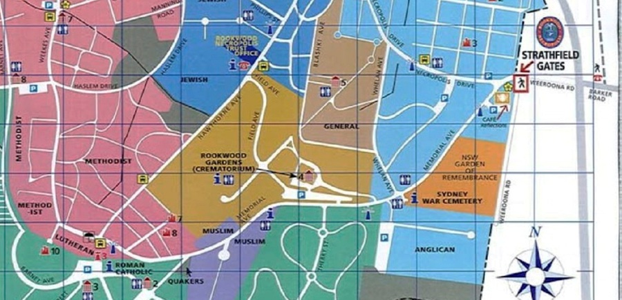 Rookwood Cemetery Map Virtual War Memorial   Rookwood Cemetery & Crematorium