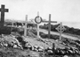 Thumb beach cemetery wooden crosses in 1915