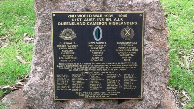 Normal 61st infantry battalion queensland cameron highlanders memorial plaque row a7