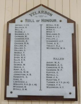 Normal yelarbon roll of honour 1