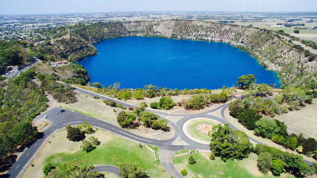 Normal tmg volcanic crater lakes blue lake aerial 1