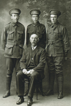 Profile pic burt bros.  walter  frank and harry with their father isac