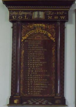Normal liverpool no 197 u.g.l. n.s.w. lodge roll of honour
