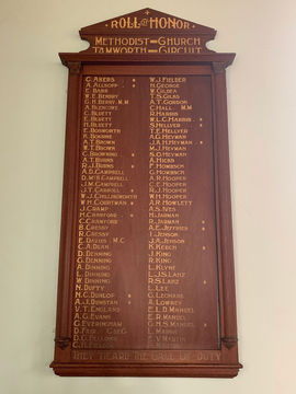 Normal tamworth methodist church roll of honour 1