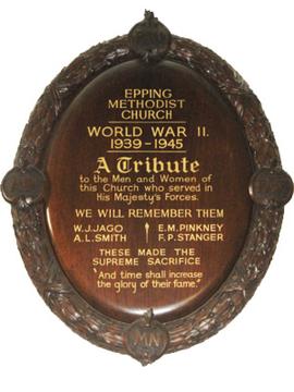 Normal epping methodist church ww2 plaque