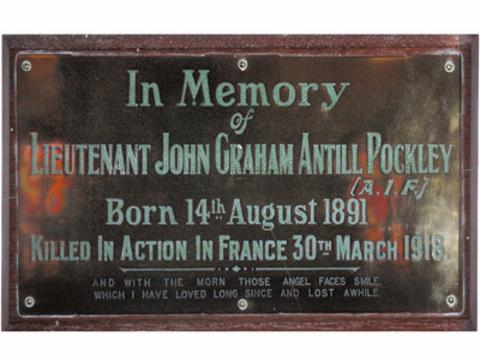 Normal wahroonga jga pockley memorial plaque