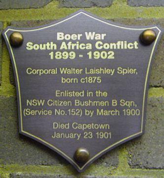 Normal hunters hill boer war plaque