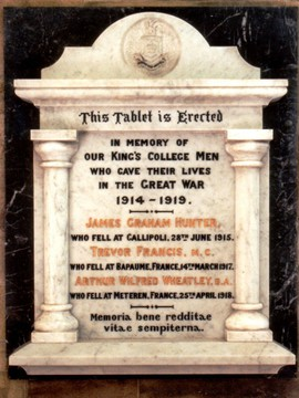 Normal st lucia king s college memorial tablet