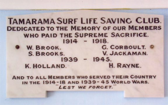 Normal tamarama surf life saving clug honour roll