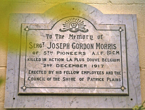 Profile pic sgt joseph gordon morris 1892 1917 dcm  register of war memorials in nsw  recorded by singleton historical society   museum inc