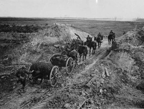 Normal nls haig   artillery going through a cutting in the canal du nord 1