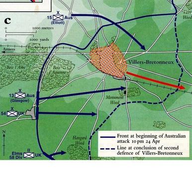 Normal map villers bretonneux 24.5 april 1918