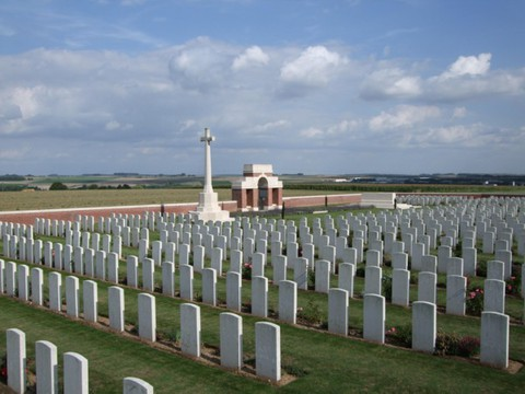 Normal bouzincourt ridge cemetery   cross of sacrifice and entry to cemetery