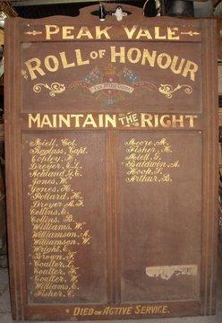 Normal peak vale honour board