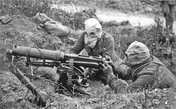 Normal vickers machine gun crew with gas masks