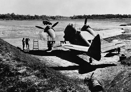 Normal damaged bristol beaufighter mk vif of no 177 squadron raf parked in a dispersal at feni india