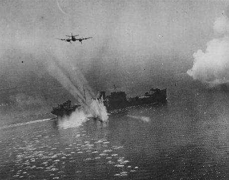 Normal beaufighter attacking enemy ship north sea