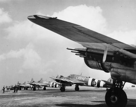 Normal bristol beaufighter tf mk x of no 455 squadron raaf about to depart from langham norfolk