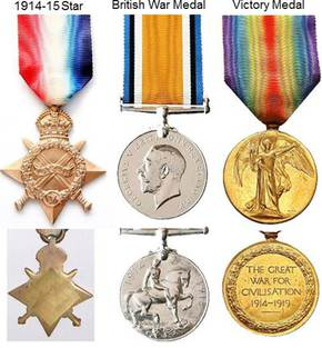 Profile pic wwi 1914 15 star   bwm   victory medals  front   back