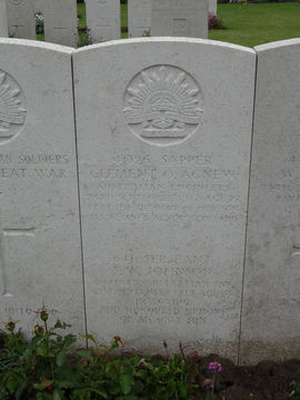 Profile pic birr cross roads cemetery   641 sapper clement ogilvie agnew d 23 09 1917  plot 1 row f grave18