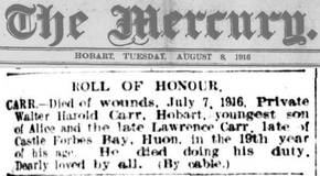 Profile pic carr pte 4480 walter harold   d 7 7 1916   roll of honour in the mercury 8 8 1916
