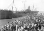 Thumb hmat a7 medic   may 1916 departs melbourne assisted by a tug  and watched by a crowd of  well wishers on the wharf